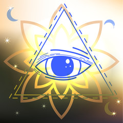 Abstract sacred geometry.  Third eye mystical sign. The eye of S