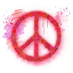 Aquarell Peace Zeichen Illustration mit roten Farbspritzern Symbol Frieden