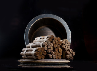Cigars are handmade, aged several years in oak barrels of brandy