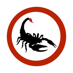 Stop sign Black Scorpion. Scorpio with red bloody sting.