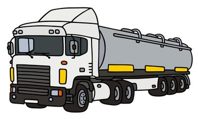 Semi tank trailer / Hand drawing, vector illustration