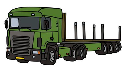 Semi platform trailer / Hand drawing, vector illustration