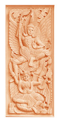 Traditional Old wood carving on the wall of Temple in Thailand,