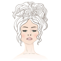 Young beautiful woman with wavy hair. Coloring for adults. Vecto