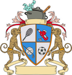 Monkey Money Cook Pot Sports Wine Coat of Arms Drawing