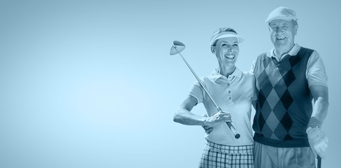 Composite image of couple golf players looking the camera