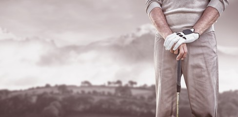 Composite image of golf player posing