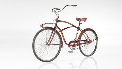 Red bicycle, old vintage bike isolated on white background