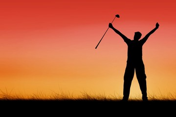 Composite image of golf player raising arms