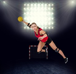 Composite image of female athlete throwing handball