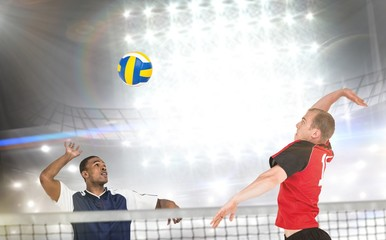 Composite image of sportsmen are playing volleyball