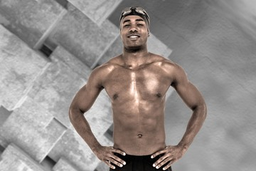 Composite image of swimmer smiling and posing