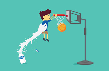 Big hand from milk bottle lifting a boy to shoot a basketball into the hoop. This illustration about drinking milk.