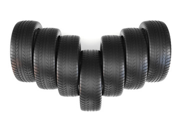 Wheels top view, isolated on white background with shadow. 3d illustration.