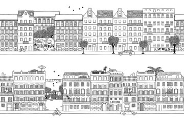 Two hand drawn seamless city banners - Berlin and Rome style houses