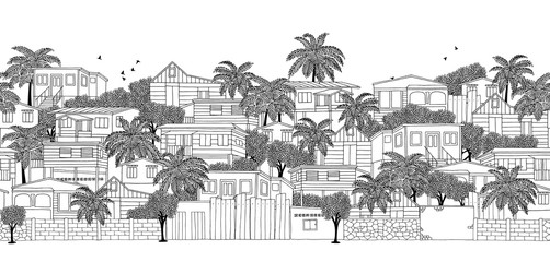 Seamless banner of a Caribbean village with wooden stilt houses, hand drawn black and white illustration