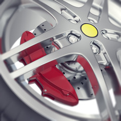 Car wheel close-up view with focus effect. 3d illustration