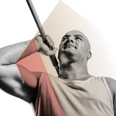 Composite image of athlete preparing to throw javelin