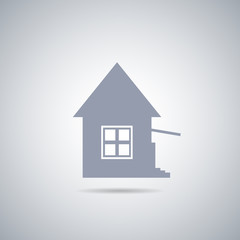 Abstract vector house icon with shadow , real estate