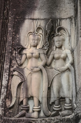 Apsara dancer stone on at Angkor Wat,Siem Reap. Cambodia