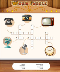 Word puzzle game template with antique objects