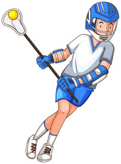 Man with stick doing lacrosse
