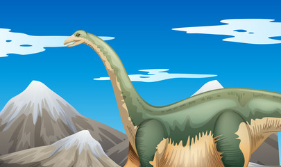 Scene with dinosaur and mountains