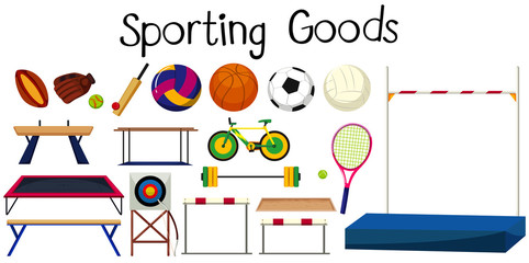 Set of many sport equipments