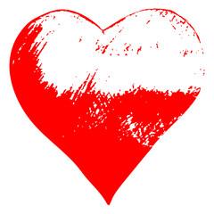 illustration with red grunge sketch heart shape, love romantic concept. Vintage original image design.