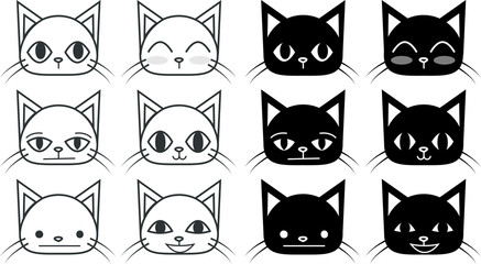 Set of black and white cat faces