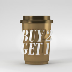 Coffee cup with quote buy 1 get 2 3D rendering 3D illustration