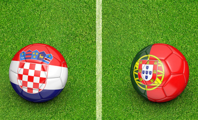 Team balls for Croatia vs Portugal football tournament match, 3D rendering