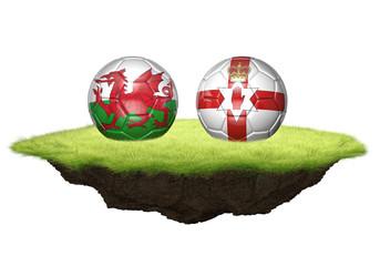 Wales vs Northern Ireland team balls for football championship tournament, 3D rendering