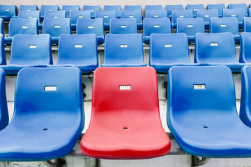 Empty seats in an open stadium