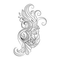 Decorative art flowers. Zentangle floral pattern. Hand-drawn design element.