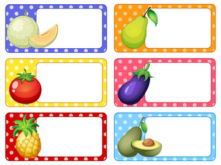 Label design with fruits and vegetables