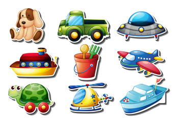 Set of toys sticker on white