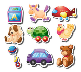 Toy stickers on white background