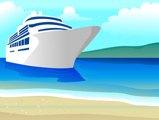 Vector Illustration of Ship on the Beach