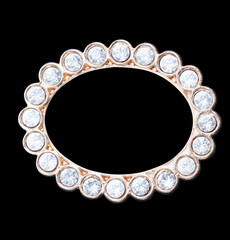 round frame with crystals isolated on black background