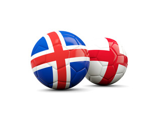 England and Iceland soccer balls