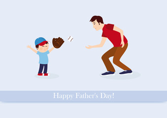 Happy Father's Day vector. Fathers Day illustration. Father and son playing baseball