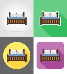 bed furniture set flat icons vector illustration