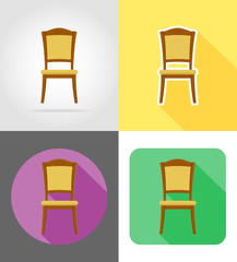 chair furniture set flat icons vector illustration