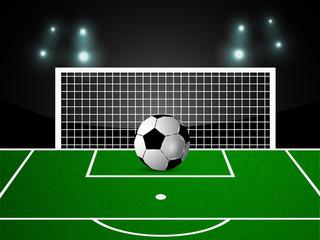 Illustration of football stadium with football