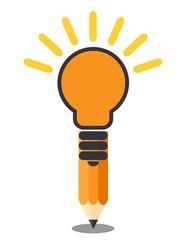 Vertical oriented pencil light bulb. Creative idea concept. Isolated