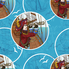 Seamless background with pirate, ships and gulls on blue
