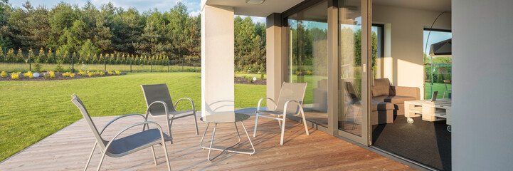 Modern patio with garden view