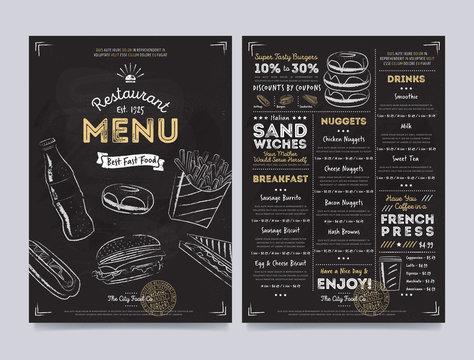 Restaurant cafe menu template design on chalkboard background vector illustration