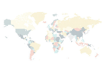 Dotted World map of square dots